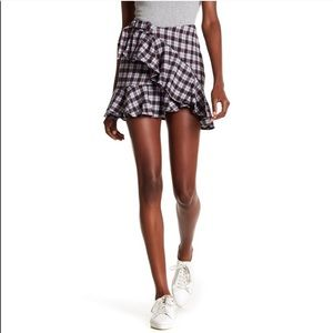 NWT Nordstrom AFRM Dominic Plaid Ruffle Skirt